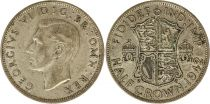 Royaume-Uni 1/2 Crown 1942 - Armoiries, George VI, argent