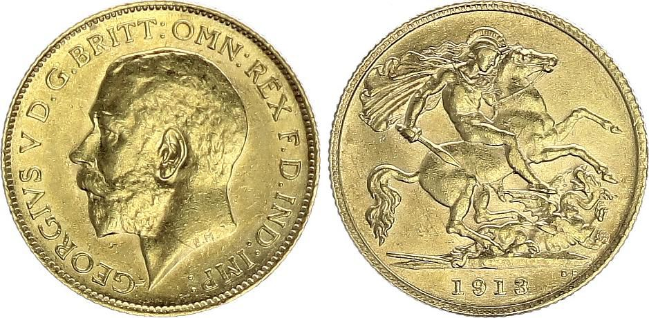 Royaume-Uni 1/2 Souverain Georges V - 1918 - Or