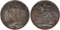Royaume-Uni 1 Crown Victoria - Saint George et Dragon - 1887 Argent
