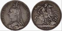 Royaume-Uni 1 Crown Victoria - St George et Dragon - 1887 Argent