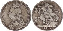 Royaume-Uni 1 Crown Victoria - St George et Dragon - 1889 Argent