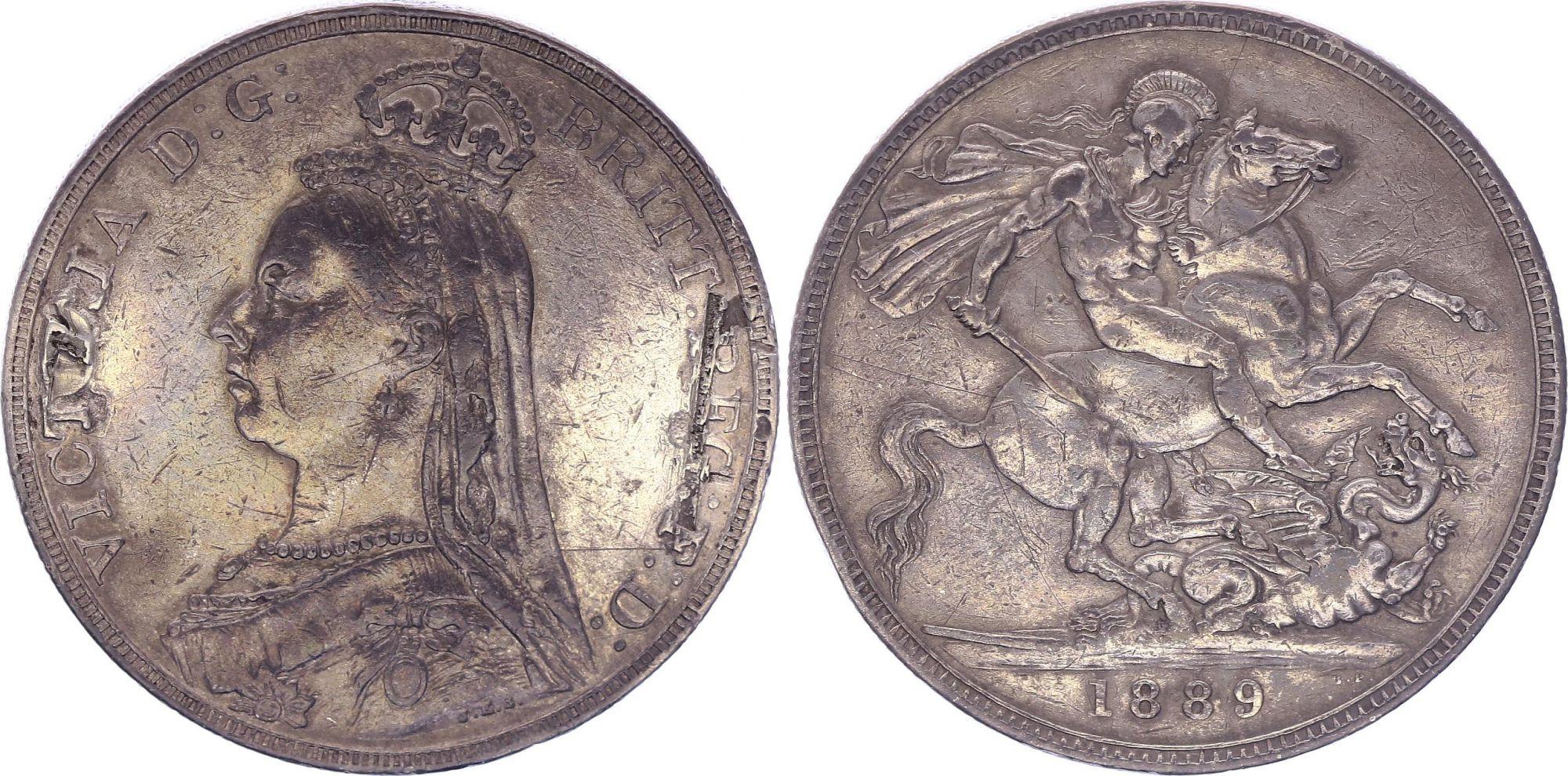 Royaume-Uni 1 Crown Victoria - St George et Dragon - 1889