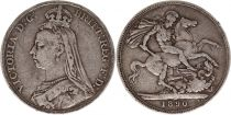 Royaume-Uni 1 Crown Victoria - St George et Dragon - 1890 Argent
