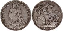 Royaume-Uni 1 Crown Victoria - St George et Dragon - 1890 Argent