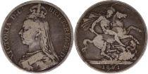 Royaume-Uni 1 Crown Victoria - St George et Dragon - 1891 Argent