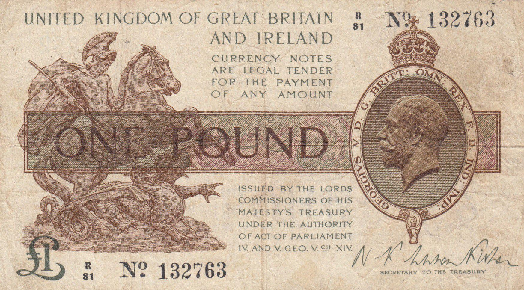 Royaume-Uni 1 Pound George V et St George tuant le dragon - 1922 - TB - P.359