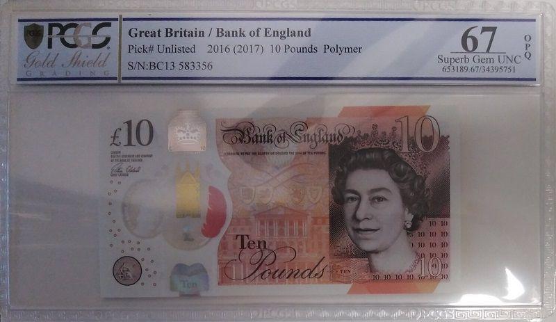 Royaume-Uni 10 Pounds Elisabeth II - Jane Austens - 2016 (2017) Polymer PCGS 67OPQ
