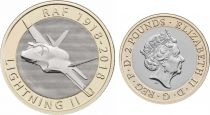 Royaume-Uni 2 Pounds 2018 - Avion Lightning II - Bimétal
