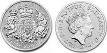 Royaume-Uni 2 Pounds Elisabeth II -  Armoiries Royales - Once Argent 2021