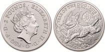 Royaume-Uni 2 Pounds Elisabeth II - Chien - Once Argent 2018