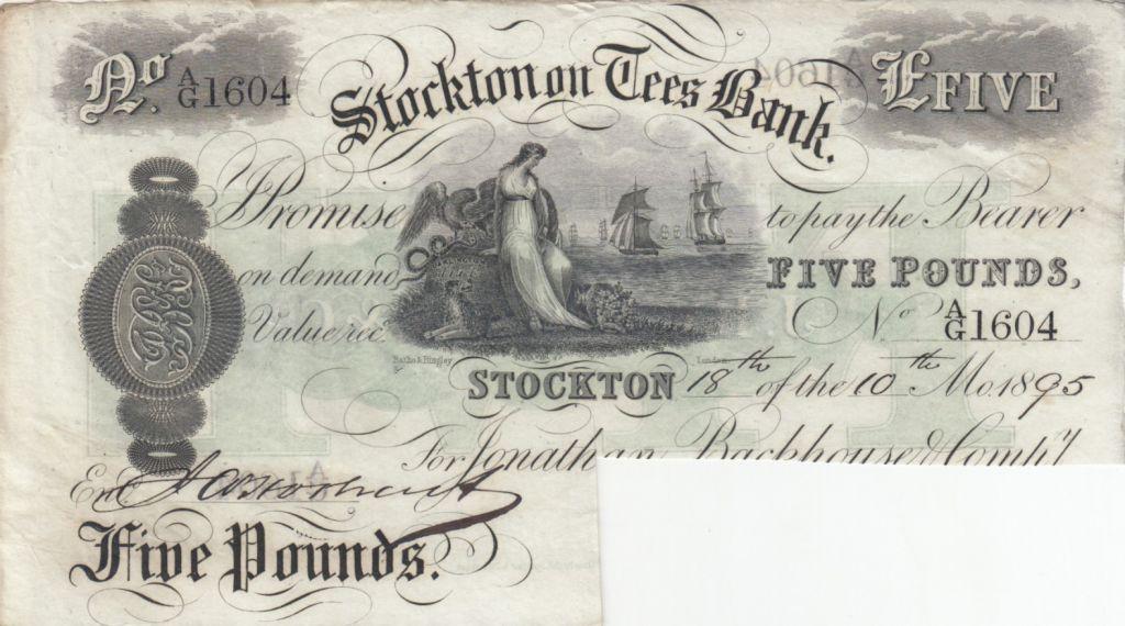 Royaume-Uni 5 Pounds, Stockton on Tees bank - 1895 - Annulé par Coupure - TTB