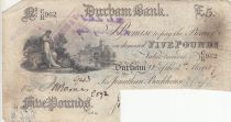 Royaume-Uni 5 Pounds Durham Bank - 1889 - TB - CR 962