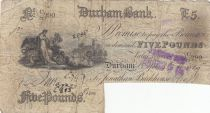 Royaume-Uni 5 Pounds Durham Bank - 1889 - TB