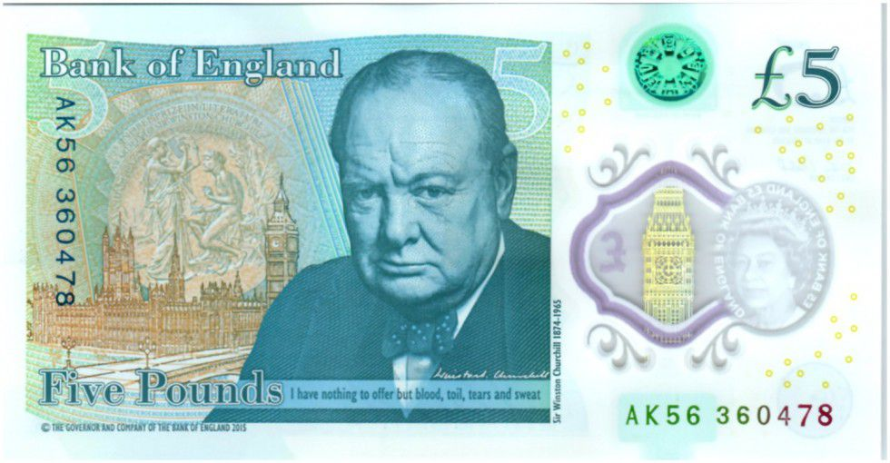 Royaume-Uni 5 Pounds Elisabeth II - Winston Churchill - 2016 Polymer
