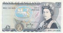Royaume-Uni 5 Pounds Elisabeth II ND1987 Sign Page - Duc de Wellington