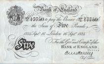 Royaume-Uni 5 Pounds Impr. noire - Londres 1924 - Sig Harvey
