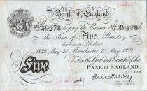 Royaume-Uni 5 Pounds Impr. noire - Manchester 1922 - Sig Harvey