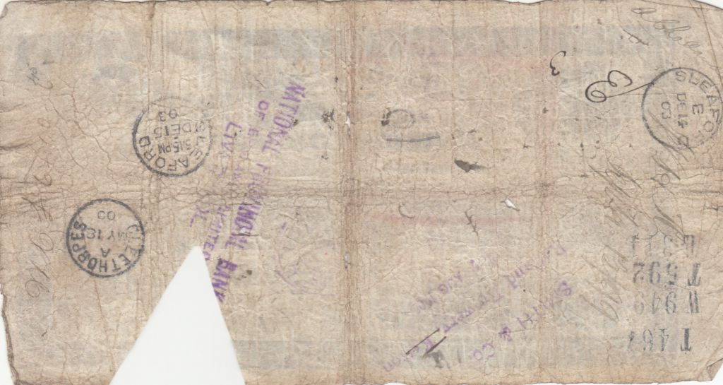 Royaume-Uni 5 Pounds Stamford Spalding and Boston Bank - 1898 - TB