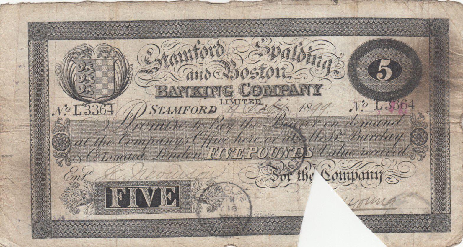 Royaume-Uni 5 Pounds Stamford Spalding and Boston Bank - 1899 - TB - L.3364