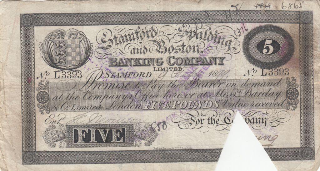 Royaume-Uni 5 Pounds Stamford Spalding and Boston Bank - 1899 - TB