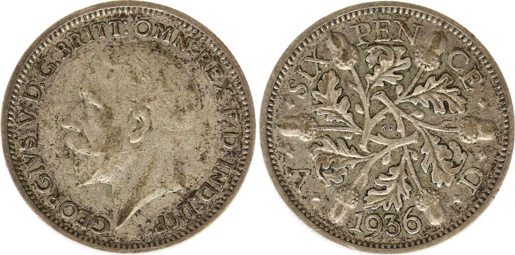 Royaume-Uni 6 Pence 1936 - Feuilles de chêne, George V, argent