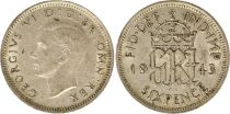 Royaume-Uni 6 Pence 1942 - Armoiries, George VI, argent