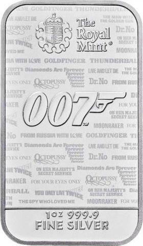 Royaume-Uni Lingot 1 Once - James Bond 007 - No Time To Die - Argent 2021