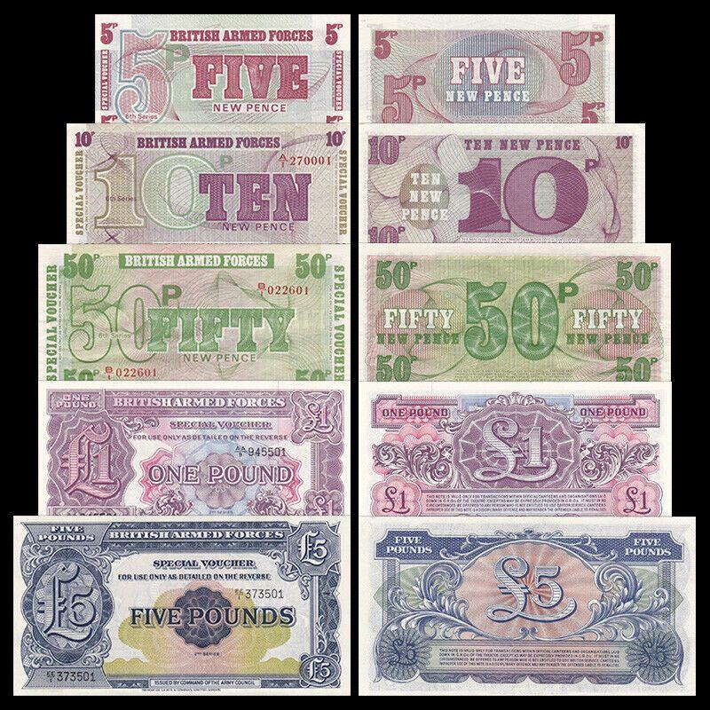 Royaume-Uni Série 5 Billets - 1 5 10 50 Pence - 1 et 5 Pounds - Neuf