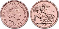 Royaume-Uni Souverain Elisabeth II - St George et dragon - 2021  - Or rose