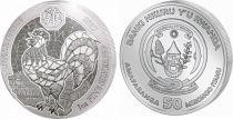 Ruanda 50 Francs  Rooster - Silver Oz 2017