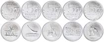 Russian Federation Serial of 5 coins - Patriotic war - 2015