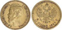 Russie 5 Roubles, Nicolas II - Aigle 1897 Or