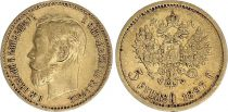 Russie 5 Roubles, Nicolas II - Aigle 1897 Or