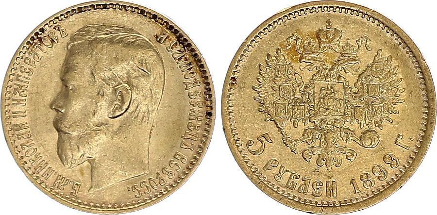 Russie 5 Roubles, Nicolas II - Aigle 1899 Or  - 4 ex