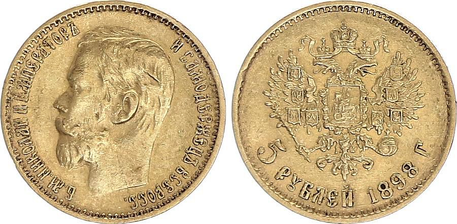 Russie 5 Roubles Or , Nicolas II - Aigle 1898 St Petersbourg - 7 ex