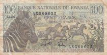 Rwanda 100 Francs  Zebras -  1978 - VF - P.12