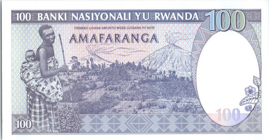 Rwanda 100 Francs  Zébres - Femme, Volcans  - 1989