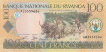 Rwanda 100 Francs Working at the field - 2003