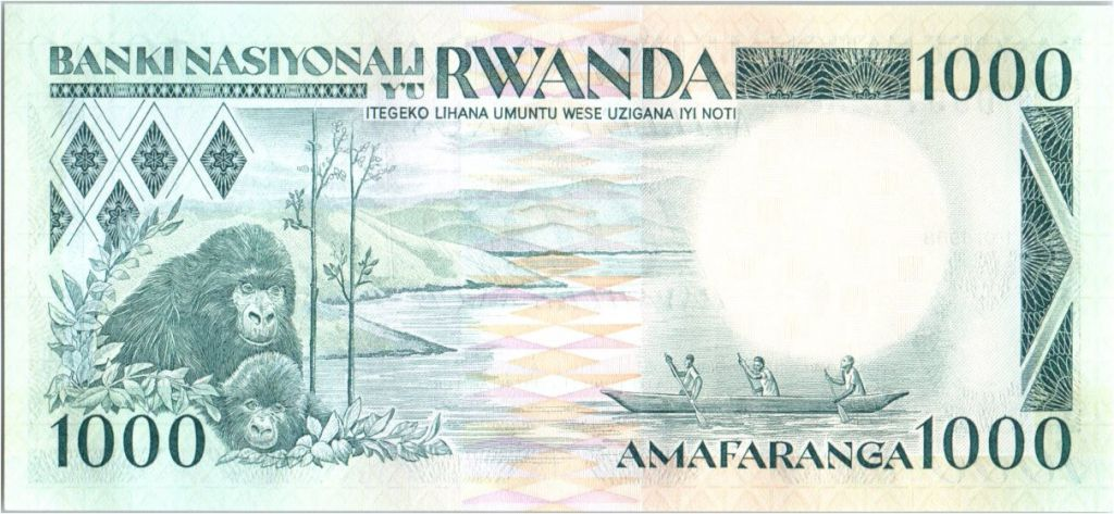 Rwanda 1000 Francs  -  Guerriers Watus, Gorilles, bateau - 1988