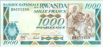 Rwanda 1000 Francs  -  Watus Tribe, Gorillas, boat - 1988