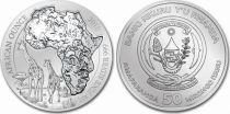 Rwanda 50 Francs  Girafes - Once Argent 2018