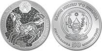 Rwanda 50 Francs Année du Chien - Once Argent 2018