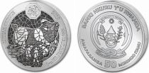 Rwanda 50 Francs Année du Cochon - Once Argent 2019