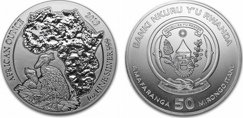 Rwanda 50 Francs Shoebill - Silver Oz 2019