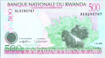 Rwanda 500 Francs -  Gorillas - Schoolchildren - 1998
