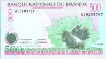 Rwanda 500 Francs -  Gorilles - Ecoliers - 1998