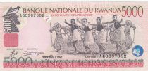 Rwanda 5000 Francs 1998 - Danseurs, Bâtiment