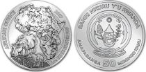 Rwanda Rwanda 50 Francs Carte Afrique, Hippopotames - Once Argent 2017