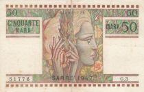 Saar 50 Mark Head of woman - 1947 Serial G.3