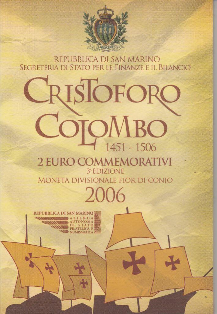 Saint-Marin 2 Euro Coffret BU Christophe Colomb - 2006